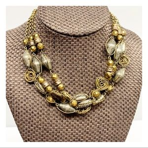 Dayne DuVall vintage silver and gold tone 3 stranded necklace